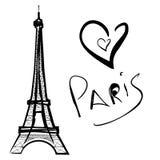Illustratie van Parijs, de Toren van Eiffel Stock Afbeeldingen