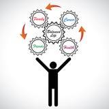 illustratie van persoon het jongleren met het saldo van het het werkleven Stock Foto's