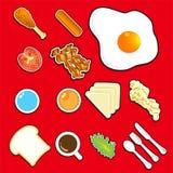 Illustratie van pictogramontbijt Stock Foto