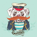 Illustratie van piraatpug hond op blauwe achtergrond in vector Royalty-vrije Stock Afbeelding