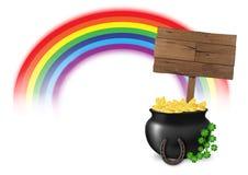 Illustratie van pot van goud op eind van regenboog, met houten die teken, hoefijzer en gelukkige klaver, op witte achtergrond wor Stock Afbeeldingen
