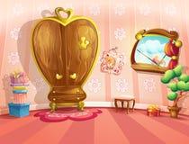 Illustratie van prinsesslaapkamers in beeldverhaalstijl Stock Afbeelding