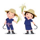 Illustratie van profession'skostuum van Thaise landbouwer voor jonge geitjes Stock Afbeelding
