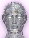 Illustratie van radertjes of toestellen in menselijk hoofd Stock Afbeeldingen