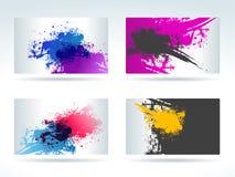 Reeks kaarten met de vlekken van de waterkleur stock illustratie