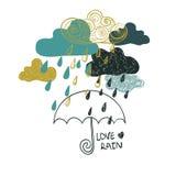 Illustratie van Regenwolken en Paraplu stock illustratie