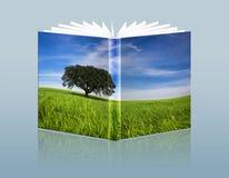 Illustratie van reisgids met landschap in stock illustratie