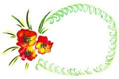 Illustratie van rode bloemen Stock Afbeelding