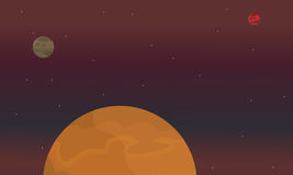 Illustratie van rode planeet op ruimtelandschap stock illustratie