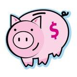 Illustratie van roze babyspaarvarken met het symbool van het dollarteken Royalty-vrije Stock Afbeeldingen