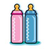 Illustratie van roze en blauwe zuigflessen Stock Fotografie