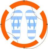 Illustratie van sandals en reddingslijn Royalty-vrije Stock Fotografie