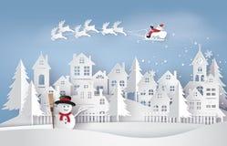 Illustratie van Santa Claus op de hemel die aan Stad komen royalty-vrije illustratie