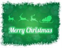 Illustratie van Santa Claus-silhouet met ar en drie rendieren Royalty-vrije Stock Foto