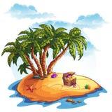 Illustratie van schateiland en palmen Royalty-vrije Stock Afbeeldingen