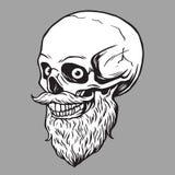 Illustratie van schedel de Gebaarde Hipster Stock Afbeeldingen