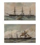 Illustratie van schepen 19-18 eeuw Stock Fotografie