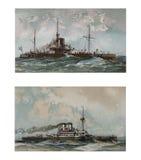 Illustratie van schepen 19-18 eeuw Stock Afbeeldingen