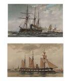 Illustratie van schepen 19-18 eeuw Royalty-vrije Stock Foto's