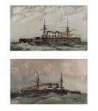 Illustratie van schepen 19-18 eeuw Royalty-vrije Stock Foto