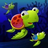 Illustratie van schildpadden onderwater Stock Afbeeldingen