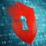 Illustratie van schildpictogram op het blauwe technologie-scherm Veiligheid concep Royalty-vrije Stock Afbeeldingen