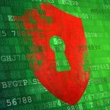 Illustratie van schildpictogram op het groene technologie-scherm Veiligheidsconce stock fotografie
