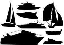 Illustratie van schip en bootsilhouetten Stock Foto