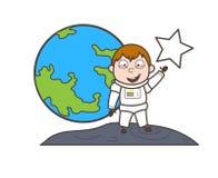 Illustratie van Showing Star Vector van de beeldverhaal de Gelukkige Astronaut Stock Fotografie