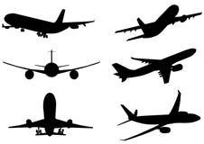 Illustratie van silhouet van vliegtuigenluchtbus Stock Foto's