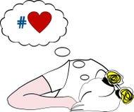 Illustratie van slaapmeisje het dromen over liefde Royalty-vrije Illustratie