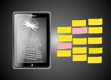 Illustratie van slimme telefoon met het beschadigde scherm in vorm van Kerstmisboom royalty-vrije stock afbeelding