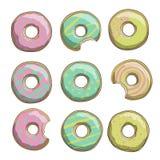 Illustratie van snoepje donuts in gele, roze en groene kleuren wordt gekleurd die Royalty-vrije Stock Afbeelding
