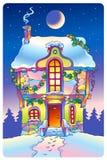Het huis van het sprookje onder het maanlicht Royalty-vrije Stock Foto's