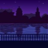 Illustratie van stadshorizon bij nigh: kade Royalty-vrije Stock Foto