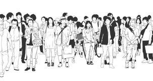 Illustratie van stadsmenigte met toeristen, klanten, arbeiders en zakenlieden in zwart-wit vector illustratie