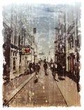 Illustratie van stadsstraat. Royalty-vrije Stock Afbeelding
