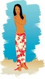 Illustratie van strandmeisje Stock Foto