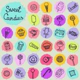 Illustratie van suikergoedreeks op witte achtergrond stock illustratie