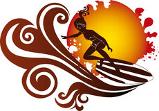 Illustratie van surfer Royalty-vrije Stock Fotografie