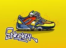 Illustratie van tennisschoenen in kleur De schoenen van de sport royalty-vrije illustratie