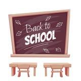 Illustratie van terug naar schoolaffiche Klaslokaal Royalty-vrije Stock Afbeeldingen