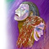 Illustratie van theatrale maskersportretten royalty-vrije illustratie