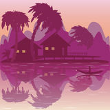 Illustratie van tropisch strand met bungalow en palmen royalty-vrije illustratie