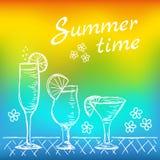 Illustratie van tropische exotische cocktails Royalty-vrije Stock Foto