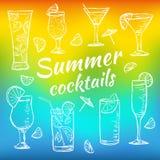 Illustratie van tropische exotische cocktails Royalty-vrije Stock Afbeeldingen