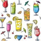 Illustratie van tropische exotische cocktails Naadloos patroon Stock Afbeelding