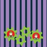 Illustratie van Twee Bedrijfsmensen Elke foto van het Wieltoestellen van het Binnenkant Kleurrijke Radertje Creatief Idee Als ach vector illustratie