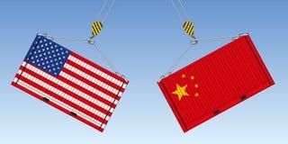 Illustratie van twee container vóór effect, symbool van de handelsoorlog tussen de Verenigde Staten en China stock illustratie