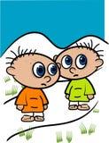 Illustratie van twee de Kleine Jonge geitjes Royalty-vrije Stock Fotografie